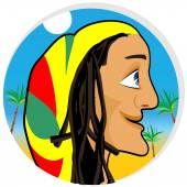 Profile illustration of smiling rastafarian looking forward