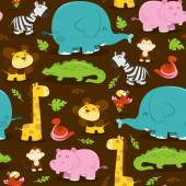 Happy Jungle Animals Seamless Pattern Background