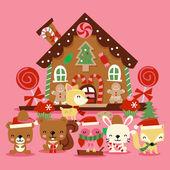 Karácsonyi erdei lények mézeskalács házikó