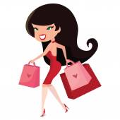 A cartoon vector illustration of a cute pinup girl walking with shopping bags