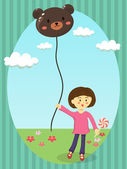 A cute little girl holding bear balloon in sunny day in garden