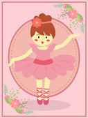 Ballerina girl with pink dress tutu dancing ballet in pink theme background
