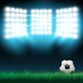 Illustration of football ball on the grass on the stadium with lights