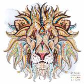 Patterned head of the lion on the grunge background African / indian / totem / tattoo design It may be used for design of a t-shirt bag postcard a poster and so on