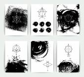 Geometric alchemy symbols with inspired phrases / abstract occult and mystic signs / business card templates / line hipster logotypes