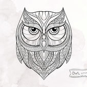 Patterned owl on the grunge background African indian totem tattoo design It may be used for design of a t-shirt bag postcard a poster and so on