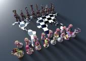 šachovnici z mapa světa s šachy hrát