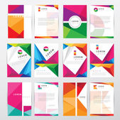 Big set collection of trendy geometric triangular design style letterhead and brochure cover template mockups for business visual identity