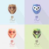 Set of colorful flat design abstract owl logo marks and illustrations for business visual identity