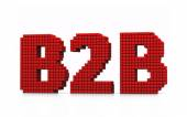 B2B business zkratka s pixel efekt na bílém pozadí