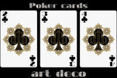 Poker playing card 2 clubs 3 clubs 4 clubs Poker cards in the art deco style Standard size card