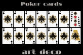 Playing cards club suit Poker cards in the art deco style Vector