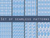 Seamless patterns with plants and flowers Set of seamless nature patterns Rose quartz and serenity violet colors