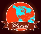 Planet Earth with ribbon banner around it Travel the world illustration Earth icon with ribbon banner around Logo vector