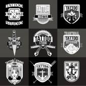 Domácí tetování loga a odznaky vektorové sada