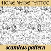 Bezešvé vzor tetování různých rukou tažené prvky