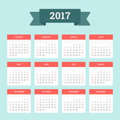 Calendar 2017 Week starts from Sunday Vector flat design template ready to print