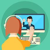 Web-Konferenzen-Meetings und Seminare flache Abbildung
