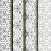 4 different vector seamless patterns Complicated black and white backgrounds textures Ornament of fine lines  Endless texture can be used for wallpaper pattern fills web page backgroundsurface textures