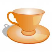 Empty cup on plate vector illustration isolated on white