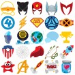 Постер, плакат: Vector set of various superheroes and superman icons