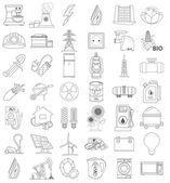 Vázlatos ikonok, energetika, kontúr ikon, ikon vonal