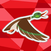 Wild duck flying icon on polygon red background