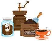 Vintage manual coffee grinder glass jar for coffee storage coffee bag and cup color illustration