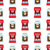 Seamless pattern with illustrations on the theme of coffee Coffee maker and jar of coffee