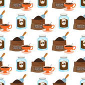 Seamless pattern with illustrations on the theme of coffee Jar of coffee and a bag of coffee beans
