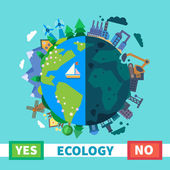 Ecology Environmental protection Nature and Pollution Vector flat illustration