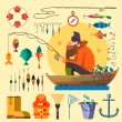 Постер, плакат: Fisherman in a boat fishing
