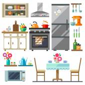 Home furniture Kitchen interior designSet of elements:refrigerator stove microwavecupboards dishes table chairs Vector flat illustration