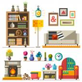 Home furniture Interior design Set of elements: wardrobebookcase sofa fireplace clock lamp flowers pictures Decorating zone of rest and sleep Vector flat  illustrations