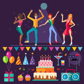 Night club People dancing Music party: holiday cake balloons gift mask cocktail Vector flat icon set and illustrations