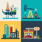 Oil recovery oil rig a gas station Vector flat illustrations