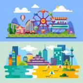 Summer city beach amusement park landscapes: ferris wheel roller coasters balloon seabeach Vacation Vector flat  illustrations