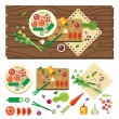 Постер, плакат: Dining table with vegetables top view