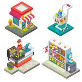 Supermarket and store stuff: cart with goods store shelves salesgirl cashbox cash desk scales Flat vector stock illustration set