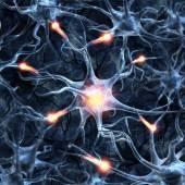Ilustrace neuronů na barevném pozadí s světle účin