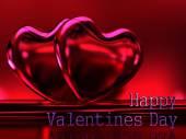 Dvě světlé lesklé srdce na tmavě červeném pozadí. Pohlednice valentní