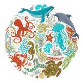 Circle vector set of cartoon sealife animals