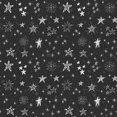 Cute seamless black and white pattern with hand drawn stars Doodle chalk drawing background