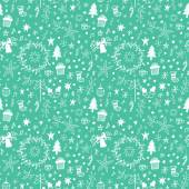 Vector illustration Set of various hand drawing christmas sketches on green background