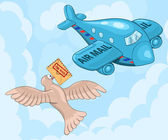 Amazed carrier pigeon meets air mail plane Funny cartoon  illustration