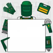 Banner In A Linear Style Green Colour Infographics Welder Welding Metal Cutting Metal Grinding Angular Grinding Machine Gloves Suitcase Worker Safety Background For Cards Invitations Web Design Posters