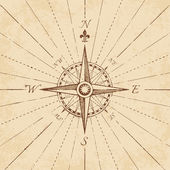 An high detail illustration of an antique compass rose on a grunge paper complete with navigation lines