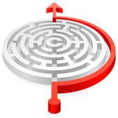 Piros kör vektor kerülni 3d labirintus