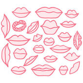 Vector illustration set of different freehand drawn cartoon lips