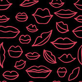 Vector seamless pattern with red freehand drawn cartoon lips on black background